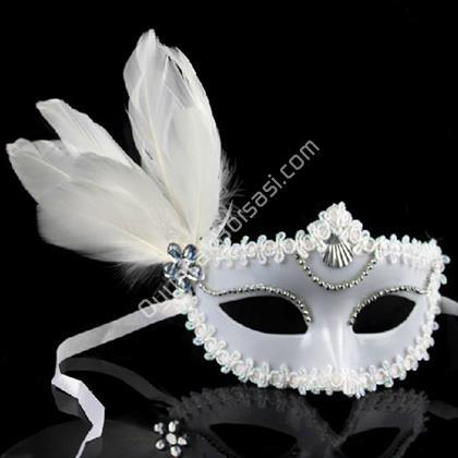Güllü Parti Maskesi Beyaz Renk ,Toptan Satış
