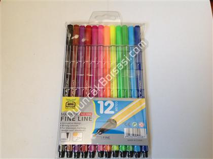 Renkli ince uçlu boyama kalemi 12 li ,Toptan Satış