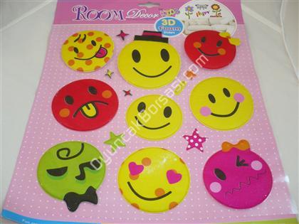 3 boyutlu gülen yüz sticker toptan sticker satış ,Toptan Satış
