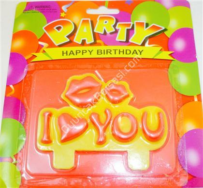 Parti mumları öpücüklü ve I love You yazılı ,Toptan Satış