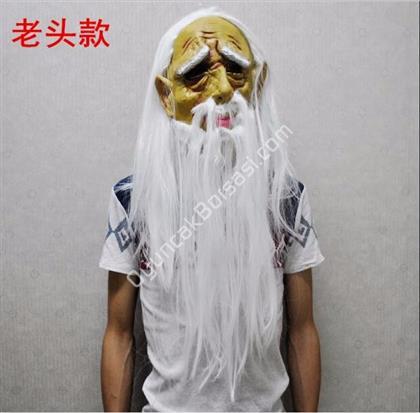 Yaşlı Adam Maskesi Uzun Saçlı  Beyaz ,Toptan Satış