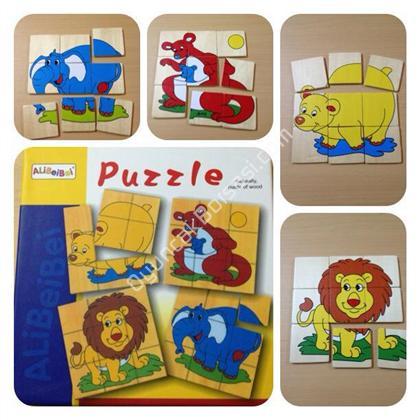 9 Par�a ah�ap hayvan Puzzle ,Toptan Sat��