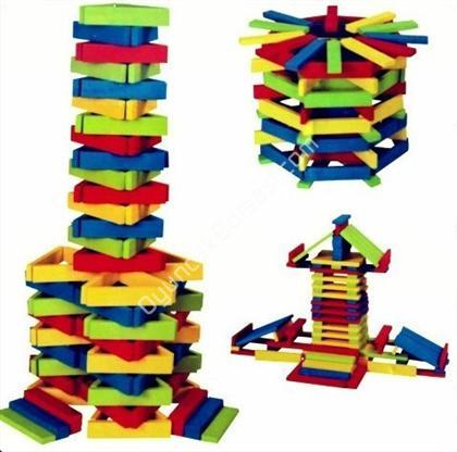 ahşap oyuncak şehir bloks 100 parça renkli ,Toptan Satış