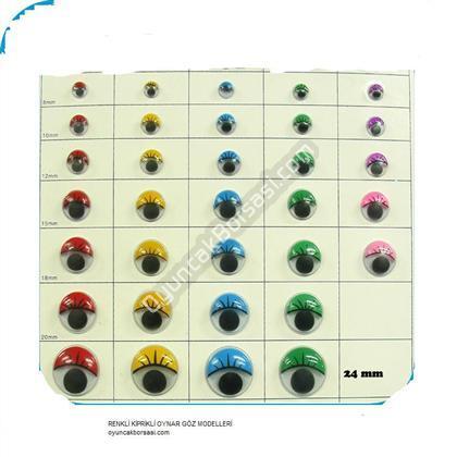 24 mm Kirpikli Renkli Oynar Göz ,Toptan Satış