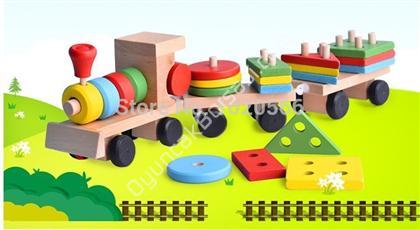 ahşap zeka oyuncakları büyük boy geometrik tren ,Toptan Satış