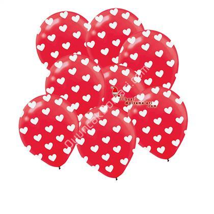 çepeçevre kırmızı üzerine beyaz kalp baskılı balon ,Toptan Satış