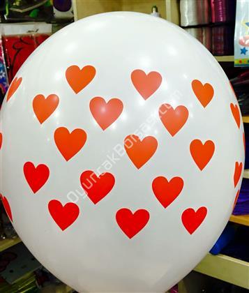çepeçevre beyaz üzerine kırmızı kalp baskılı balon ,Toptan Satış