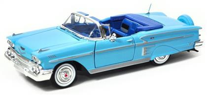 MOTOR MAX 1 24 ÖLÇEK 1958 CHEVY İMPALA TURKUAZ ,Toptan Satış