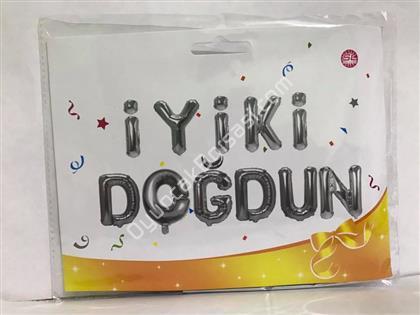 TOPTAN FOLYO BALON İYİKİ DOĞDUN FOLYO BALON GÜMÜŞ ,Toptan Satış