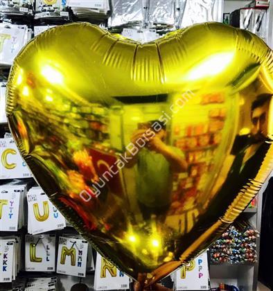 Toptan Folyo balon 22 inç altın renk kalpli ,Toptan Satış