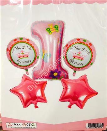 5 Parça Kız 1 Yaş Set Folyo Balon ,Toptan Satış