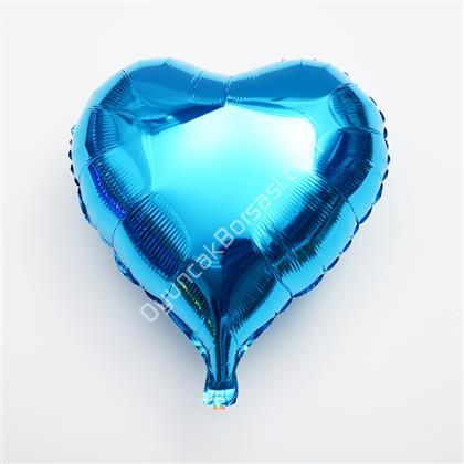 Mavi Renk Kalp Folyo Balon ,Toptan Satış