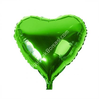 Yeşil Renk Kalp Folyo Balon ,Toptan Satış