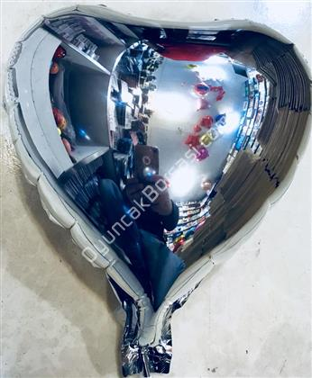 Kalp Folyo Balon Mini Gümüş ,Toptan Satış