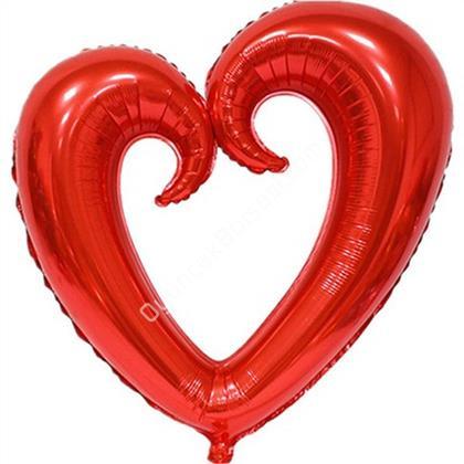Kırmızı Renk İçi Boş Kalp Folyo Balon Orta ,Toptan Satış
