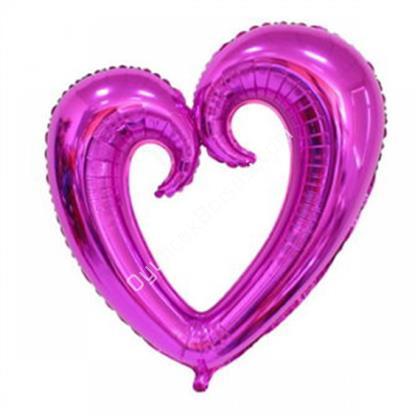 Fuşya Renk İçi Boş Kalp Folyo Balon Orta ,Toptan Satış