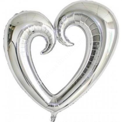 Gümüş Renk İçi Boş Kalp Folyo Balon Orta ,Toptan Satış