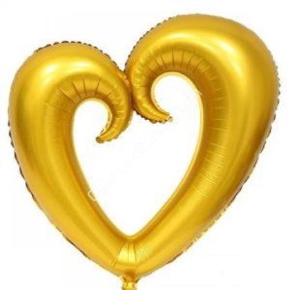 Altın Renk İçi Boş Kalp Folyo Balon Orta ,Toptan Satış
