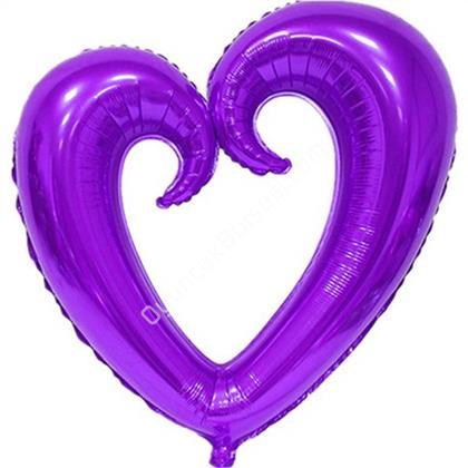 Mor Renk İçi Boş Kalp Folyo Balon Orta ,Toptan Satış