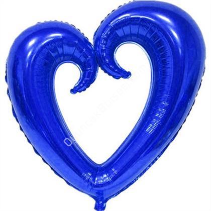 Mavi Renk İçi Boş Kalp Folyo Balon Orta ,Toptan Satış