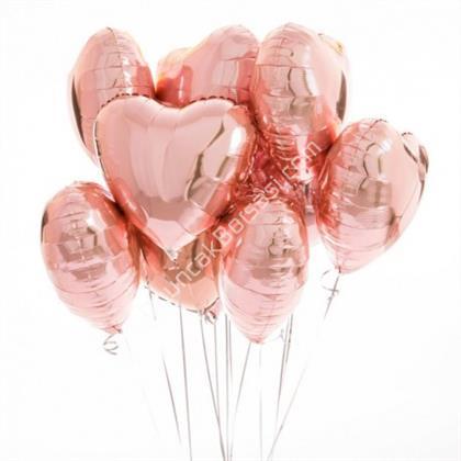 Gül Kurusu Rengk Kalp Folyo Balon 18 inç ,Toptan Satış