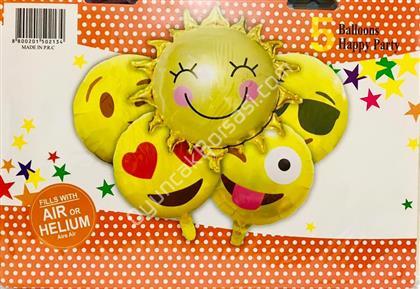 Emoji Model 5 li Folyo Balon Seti ,Toptan Satış