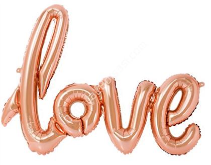 Toptan folyo balon Love Yazısı Gül Kurusu renk ,Toptan Satış