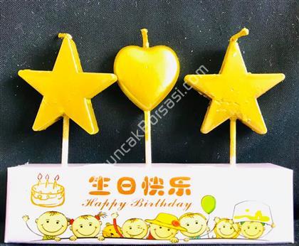 Altın Renk Kalp Yıldız Parti Mumu ,Toptan Satış