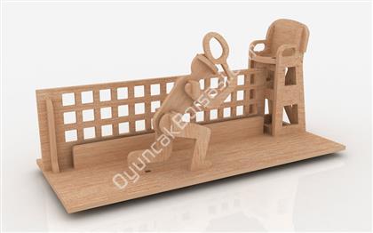 3D AHŞAP MAKET KALEMLİK TENİSCİ ,Toptan Satış