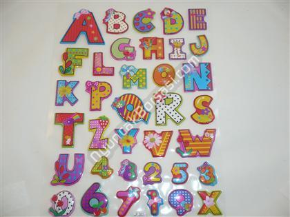 Kabartma Sticker A4 boyutunda harf modeli ,Toptan Satış