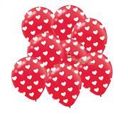 çepeçevre kırmızı üzerine beyaz kalp baskılı balon, Toptan Satış
