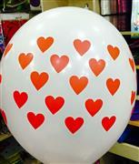 çepeçevre beyaz üzerine kırmızı kalp baskılı balon, Toptan Satış