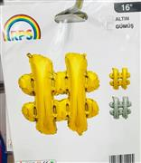 Hashtag 16 inç Altın Gümüş Folyo Balon, Toptan Satış