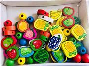 57 Parça İpe Ahşap Meyve ve Boncuk Dizme Oyunu, Toptan Satış