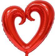 Kırmızı Renk İçi Boş Kalp Folyo Balon Orta, Toptan Satış