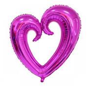 Fuşya Renk İçi Boş Kalp Folyo Balon Orta, Toptan Satış