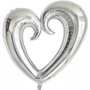 Gümüş Renk İçi Boş Kalp Folyo Balon Orta, Toptan Satış