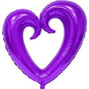 Mor Renk İçi Boş Kalp Folyo Balon Orta, Toptan Satış
