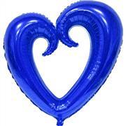 Mavi Renk İçi Boş Kalp Folyo Balon Orta, Toptan Satış